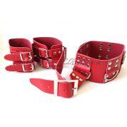 Ошейник с наручниками для фиксации рук за спиной цвет красный
