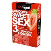"Презервативы ""DOMINO"" SWEET SEX STRAWBERRY COCTAIL  (оральные) 3 шт"